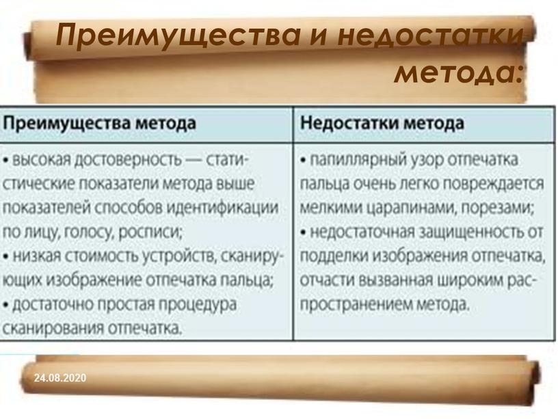 Преимущества и недостатки метода: 24