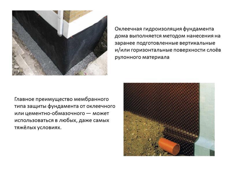 Оклеечная гидроизоляция фундамента дома выполняется методом нанесения на заранее подготовленные вертикальные и/или горизонтальные поверхности слоёв рулонного материала