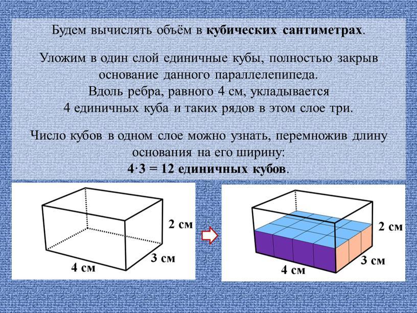 Будем вычислять объём в кубических сантиметрах