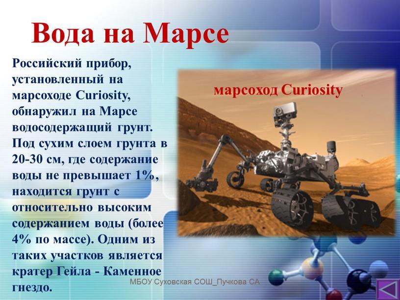 Вода на Марсе МБОУ Суховская СОШ_Пучкова