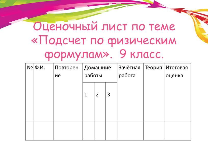 Оценочный лист по теме «Подсчет по физическим формулам»