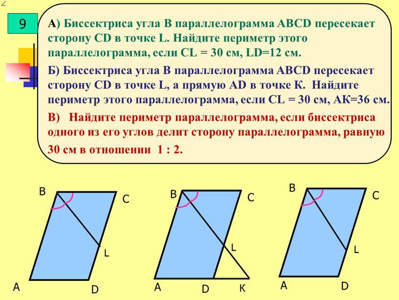 А) Биссектриса угла В параллелограмма