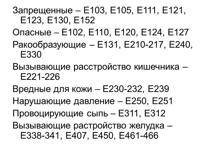 Запрещенные – Е103, Е105, Е111,