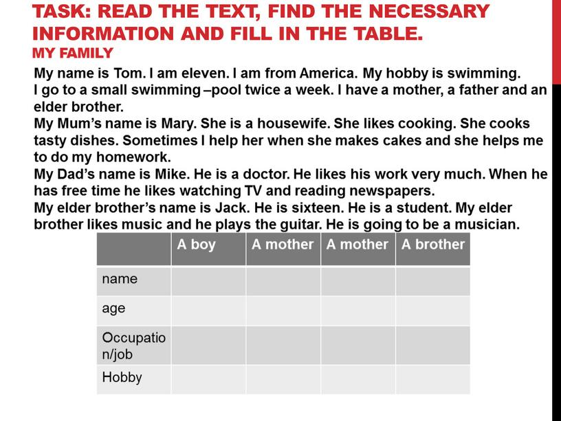 Task: Read the text, find the necessary information and fill in the table