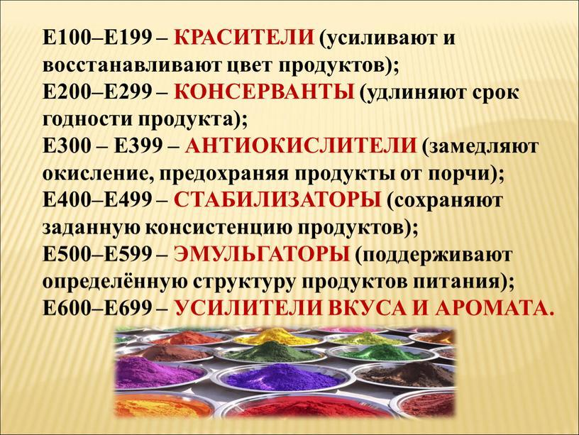 Е100–Е199 – КРАСИТЕЛИ (усиливают и восстанавливают цвет продуктов);