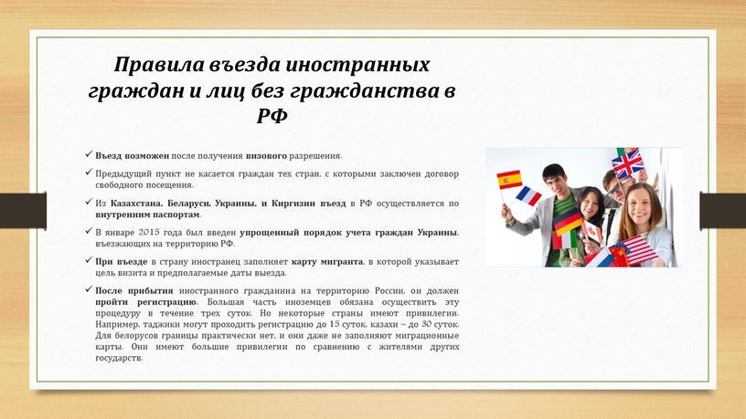 Правила въезда иностранных граждан и лиц без гражданства в