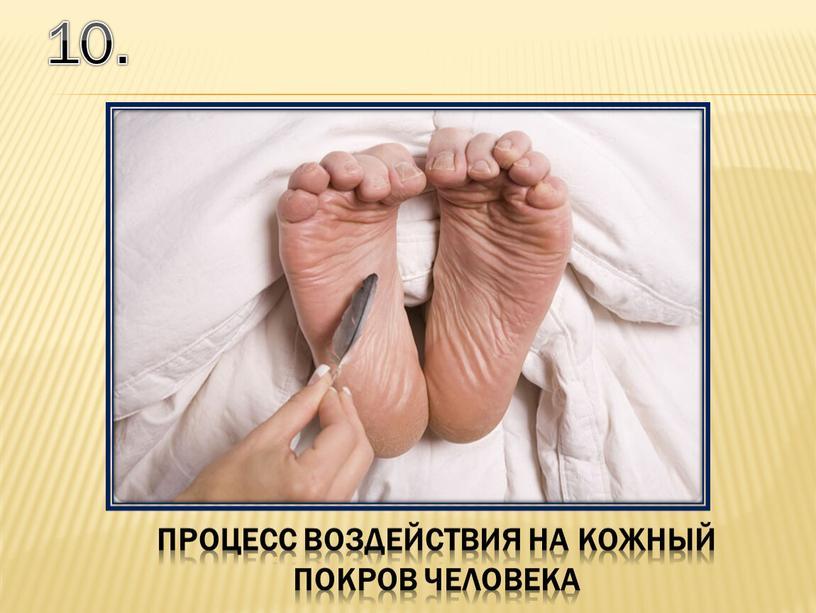 10. процесс воздействия на кожный покров человека