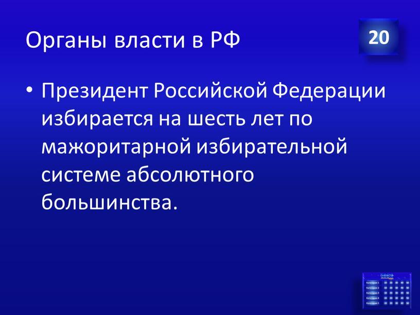 Органы власти в РФ Президент Российской