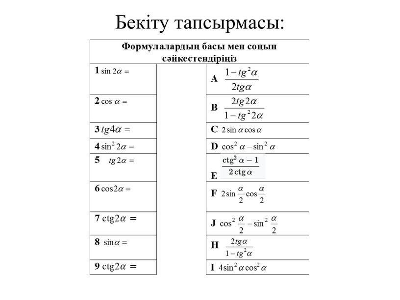Бекіту тапсырмасы: