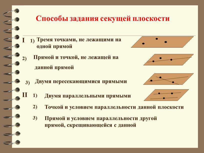 Способы задания секущей плоскости