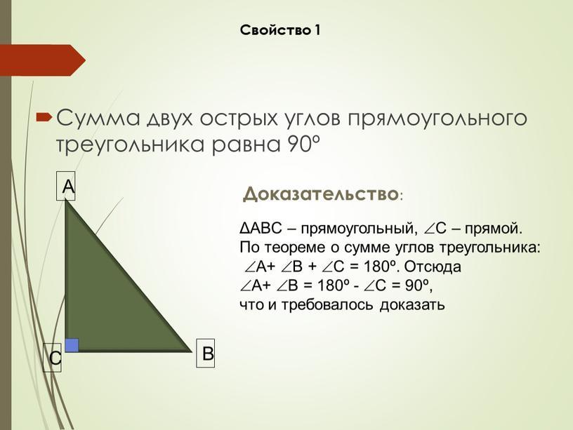 Сумма двух острых углов прямоугольного треугольника равна 90º