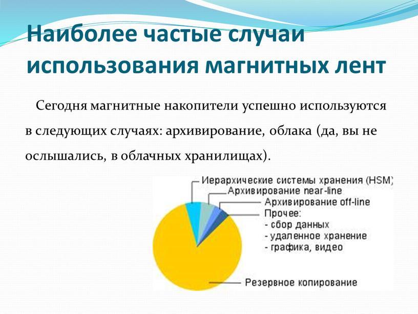 Наиболее частые случаи использования магнитных лент