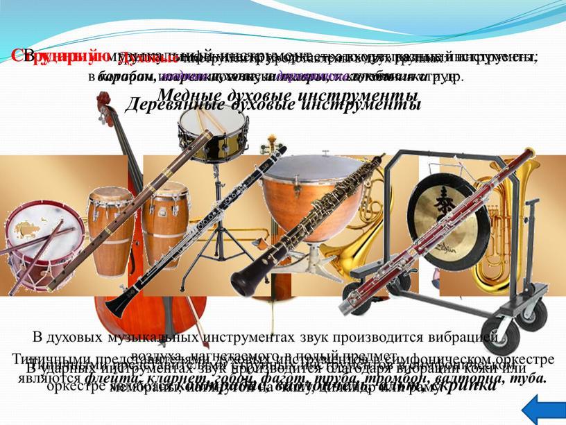 Духовые инструменты представлены в двух группах: медные духовые и деревянные духовые