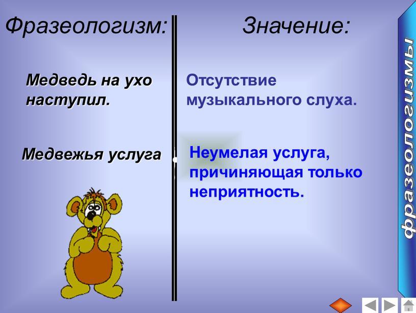 Фразеологизм: Значение: Медведь на ухо наступил