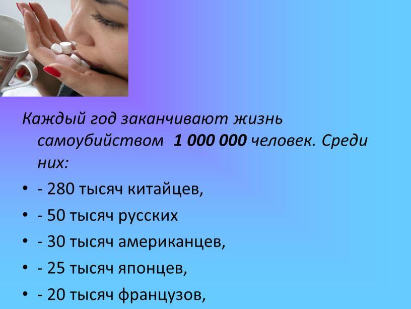 Каждый год заканчивают жизнь самоубийством 1 000 000 человек