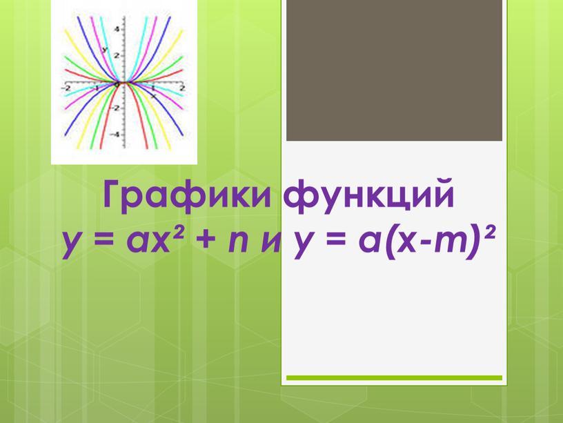 Графики функций у = ах² + n и у = а(х-m)²