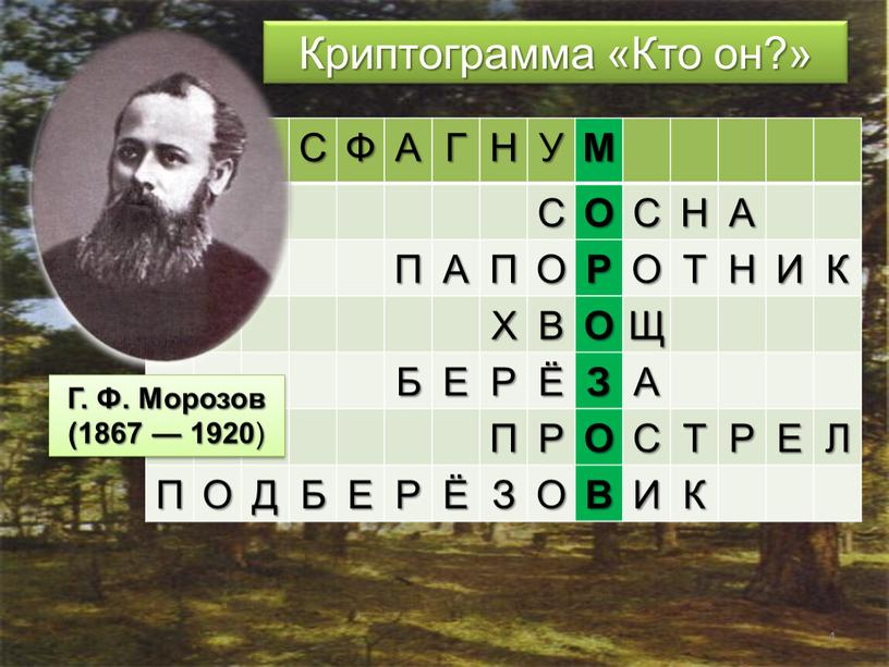 Криптограмма «Кто он?» С Ф А Г