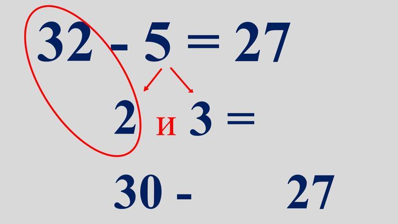 32 - 5 = 27 2 и 3 = 30 - 27