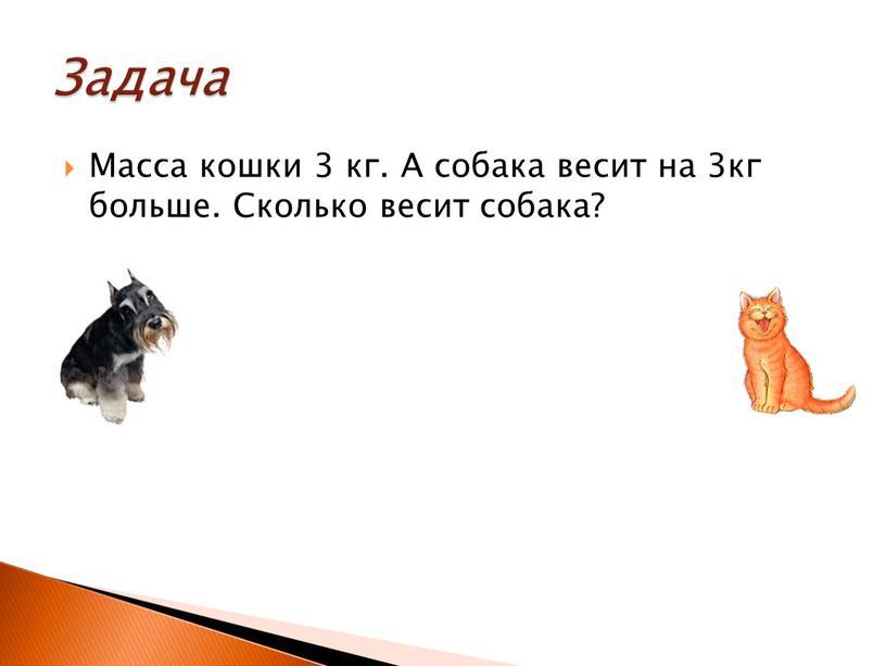 Масса кошки 3 кг. А собака весит на 3кг больше