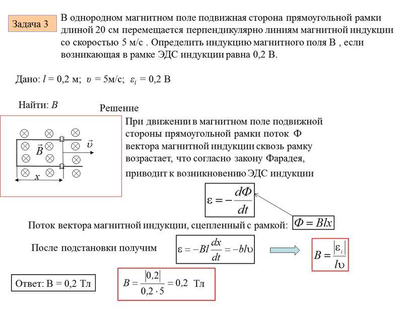 Задача 3 . В однородном магнитном поле подвижная сторона прямоугольной рамки длиной 20 см перемещается перпендикулярно линиям магнитной индукции со скоростью 5 м/с