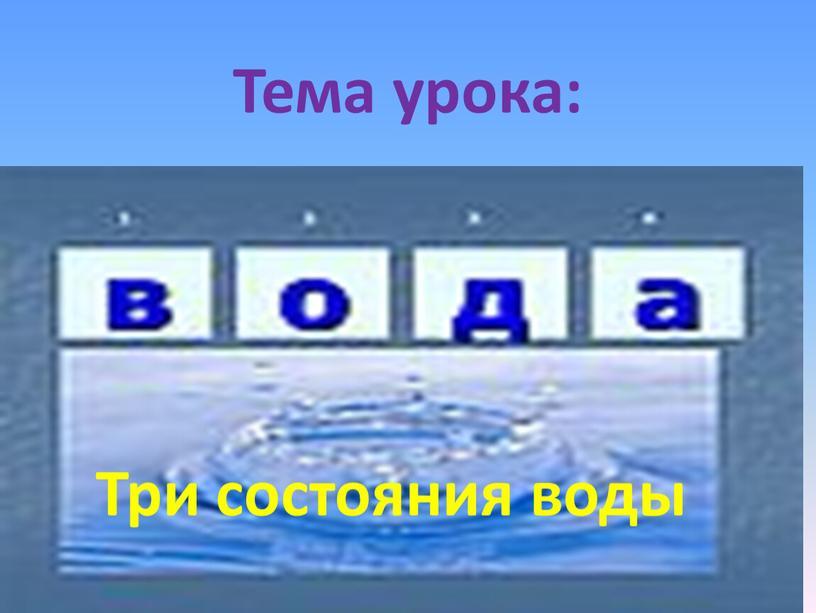 Тема урока: Три состояния воды