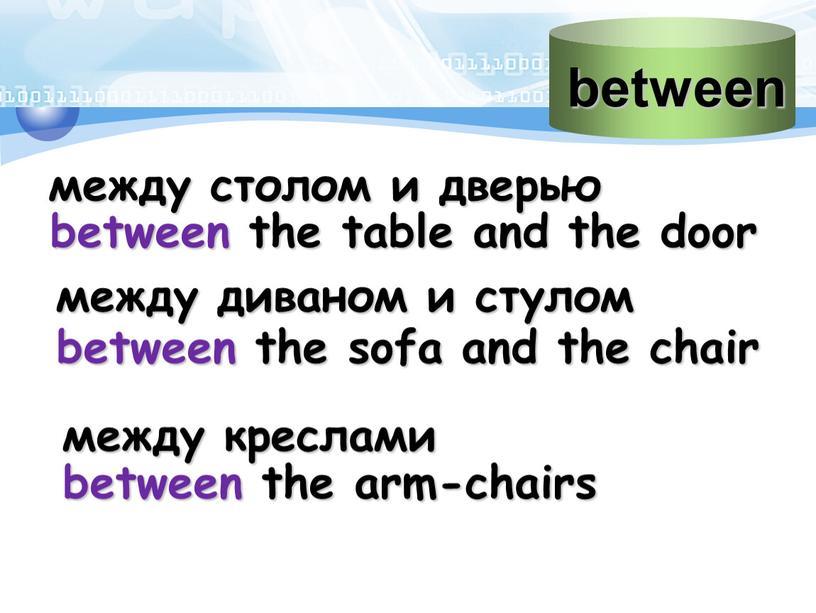 между столом и дверью between the table and the door между диваном и стулом between the sofa and the chair между креслами between the arm-chairs