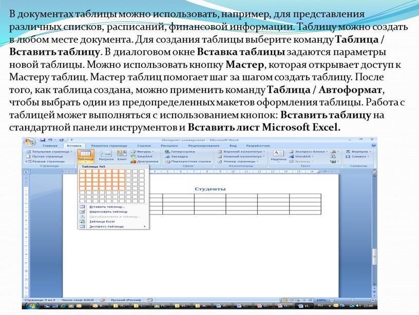 В документах таблицы можно использовать, например, для представления различных списков, расписаний, финансовой информации