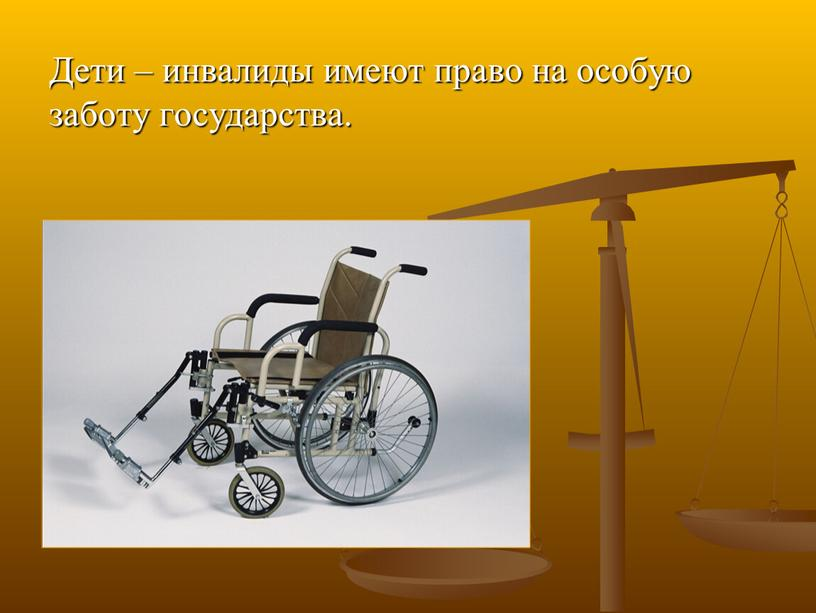 Дети – инвалиды имеют право на особую заботу государства