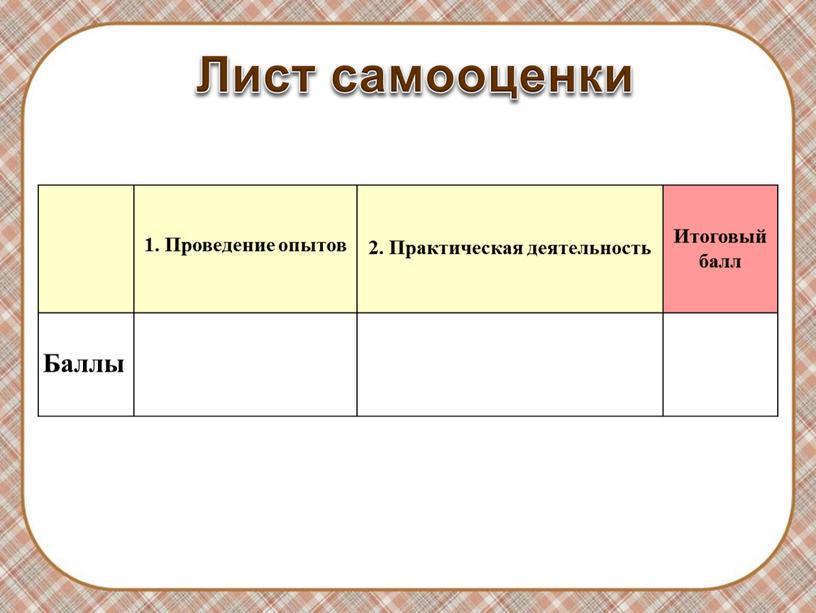 Лист самооценки 1. Проведение опытов 2