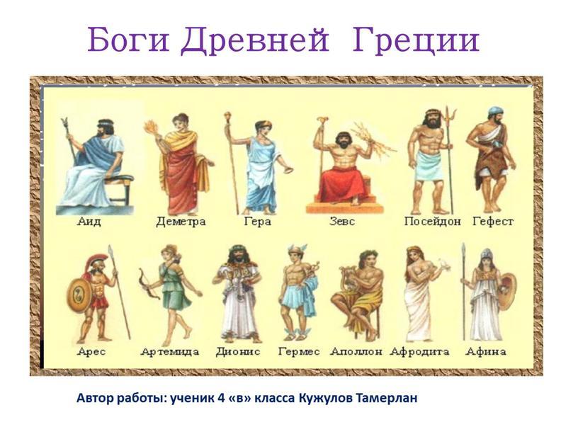 Боги Древней Греции Автор работы: ученик 4 «в» класса