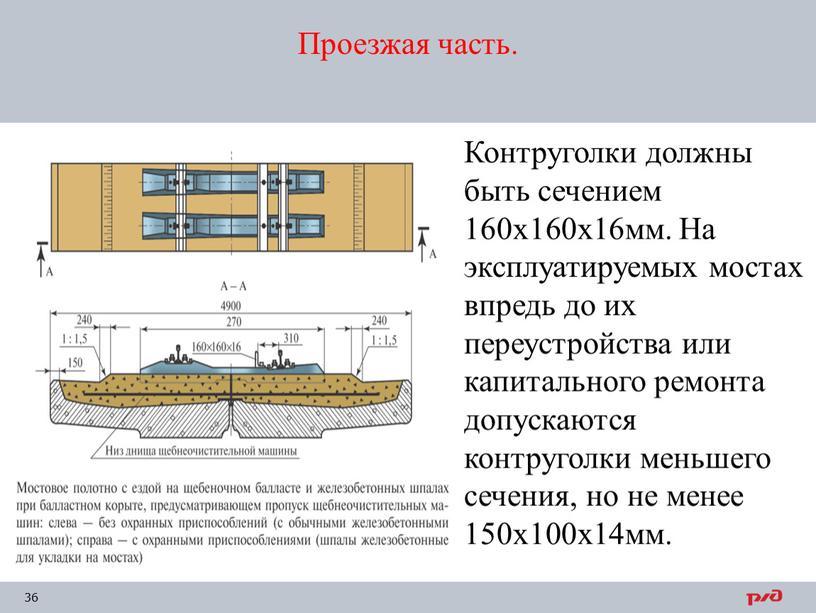 Проезжая часть. Контруголки должны быть сечением 160х160х16мм