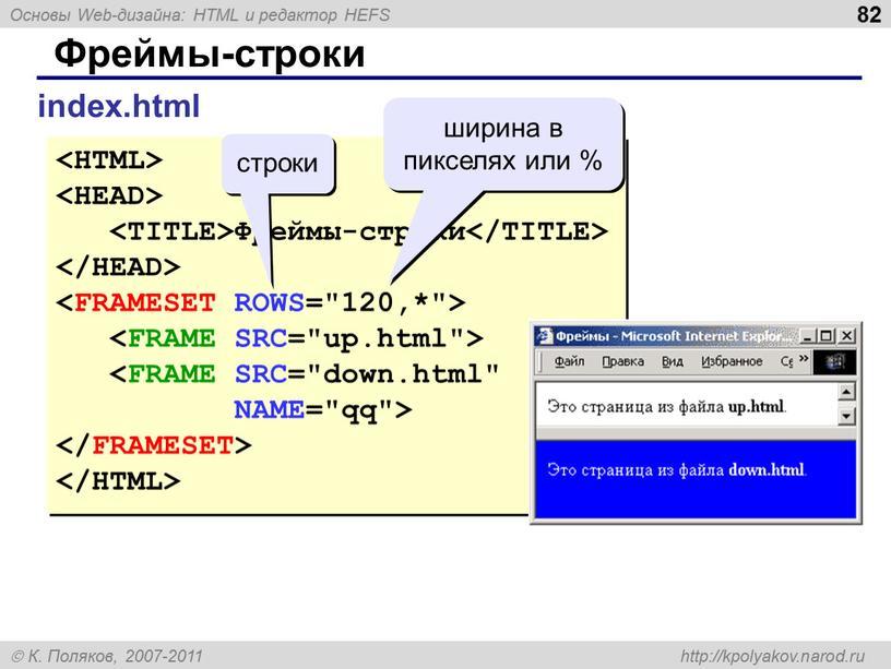 Фреймы-строки index.html Фреймы-строки