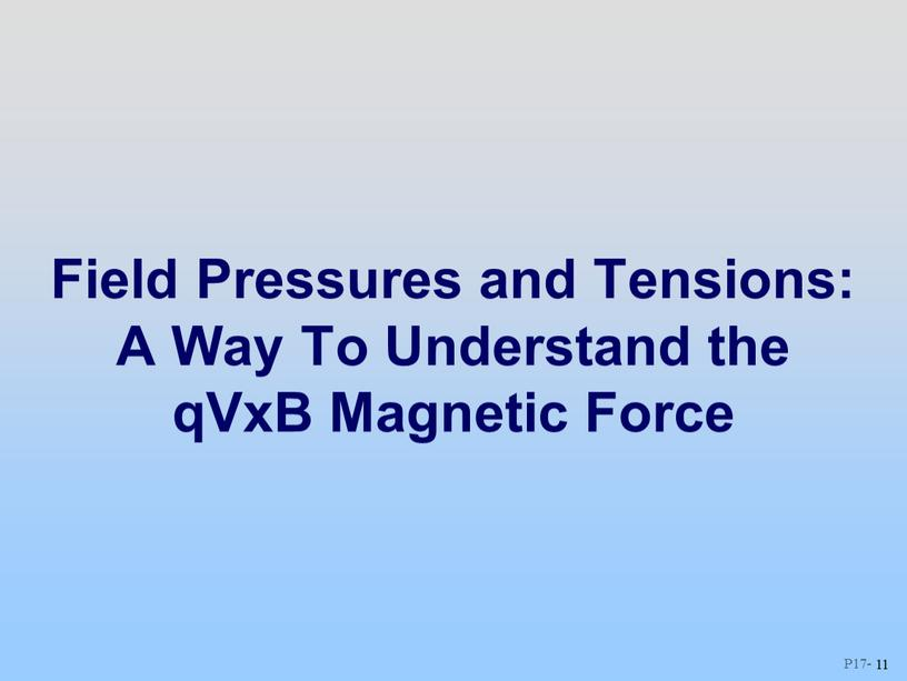 Field Pressures and Tensions: A