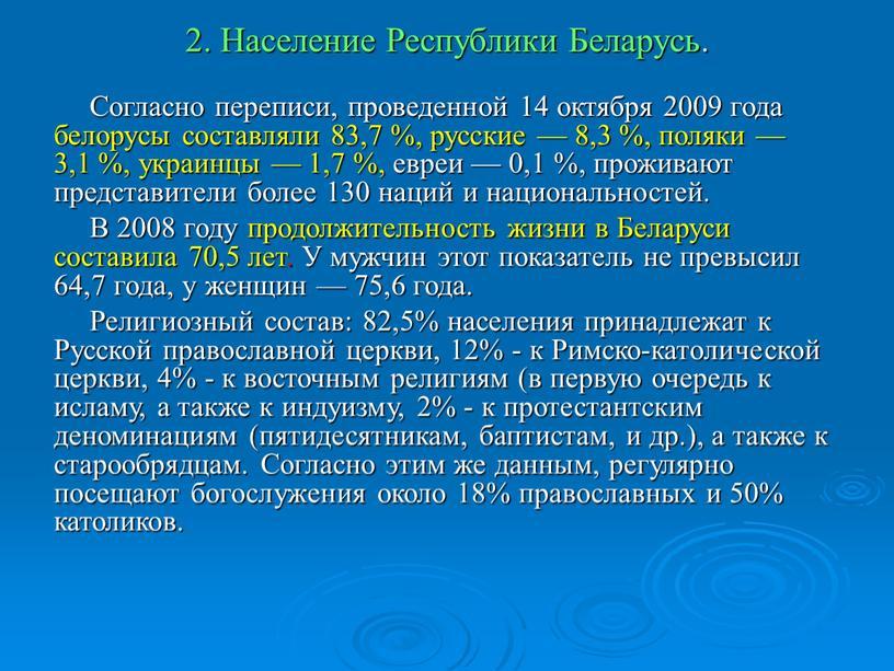 Население Республики Беларусь.
