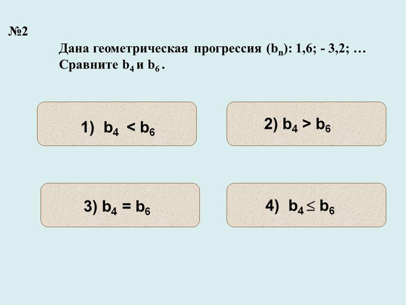 Дана геометрическая прогрессия (bn): 1,6; - 3,2; …
