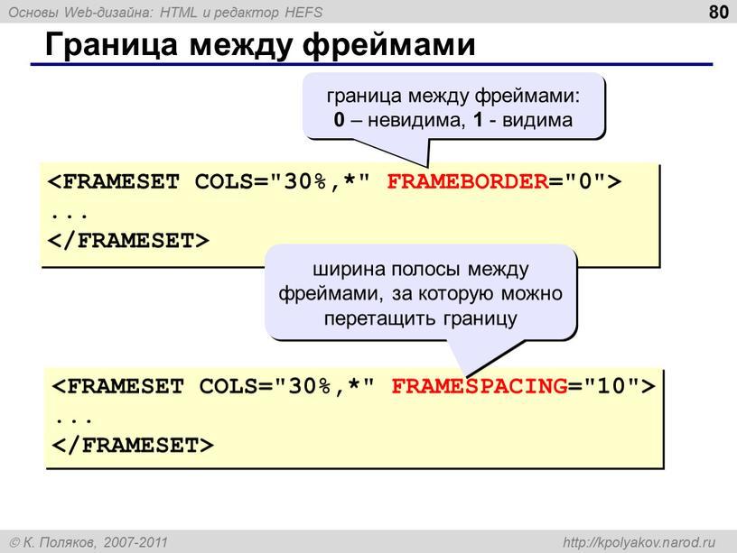 Граница между фреймами ... ... граница между фреймами: 0 – невидима, 1 - видима ширина полосы между фреймами, за которую можно перетащить границу