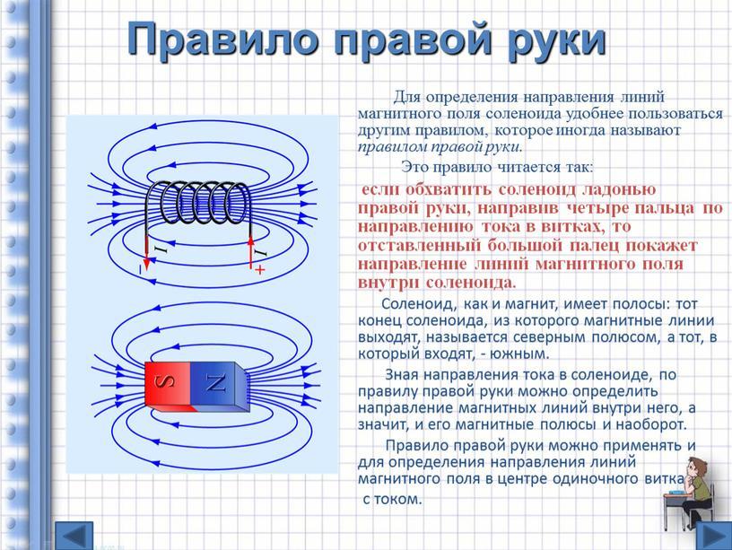 Правило правой руки Для определения направления линий магнитного поля соленоида удобнее пользоваться другим правилом, которое иногда называют правилом правой руки