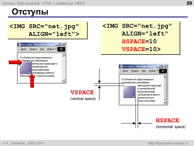Отступы VSPACE ( vertical space )