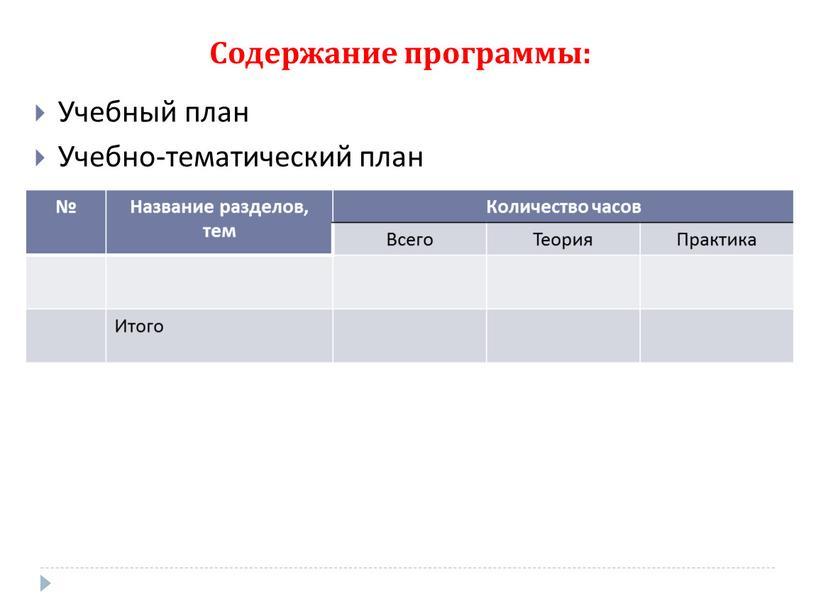 Содержание программы: Учебный план