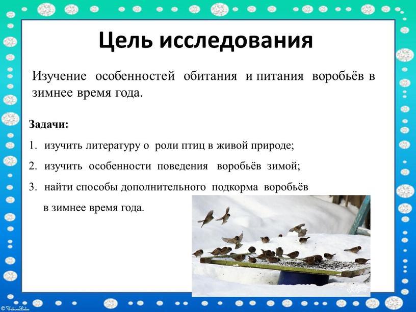 Цель исследования Изучение особенностей обитания и питания воробьёв в зимнее время года