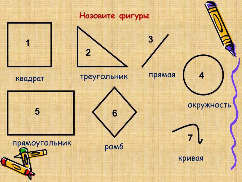 Назовите фигуры 1 2 3 4 5 6 7 квадрат треугольник прямая окружность прямоугольник ромб кривая