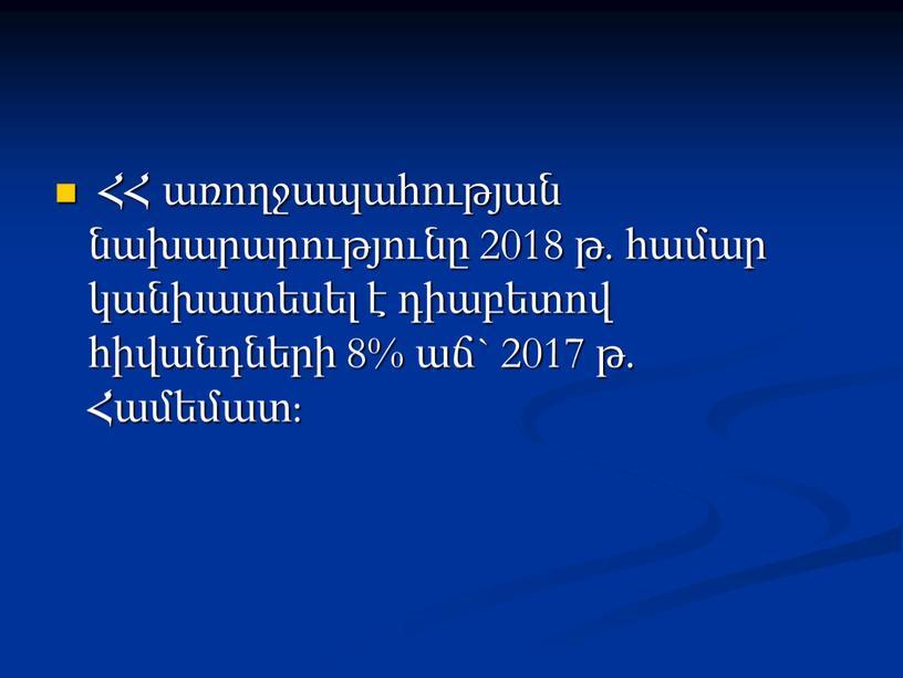 ՀՀ առողջապահության նախարարությունը 2018 թ. համար կանխատեսել է դիաբետով հիվանդների 8% աճ` 2017 թ. Համեմատ: