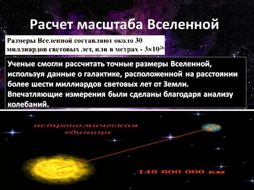Расчет масштаба Вселенной Ученые смогли рассчитать точные размеры