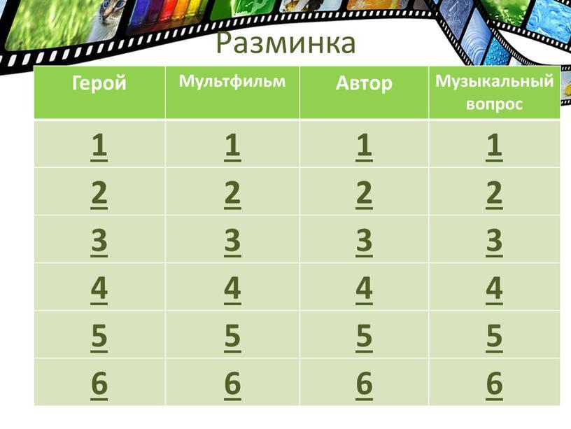 Разминка Герой Мультфильм Автор