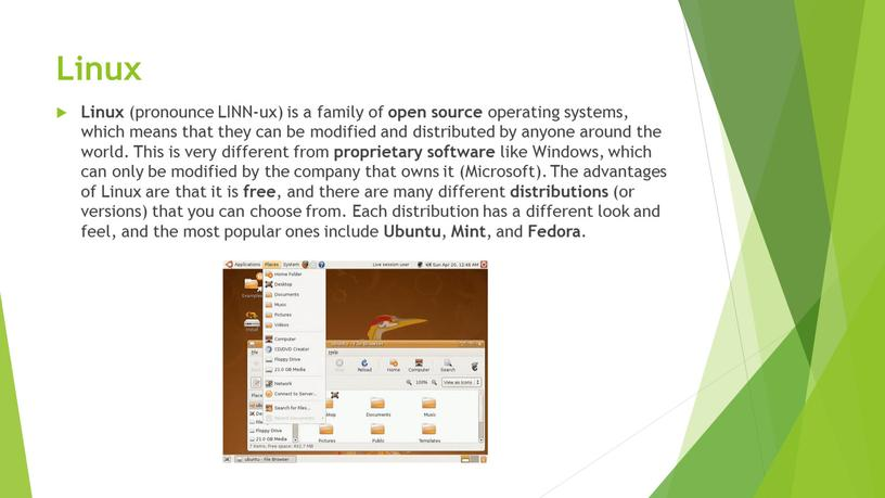 Linux Linux (pronounce LINN-ux) is a family of open source operating systems, which means that they can be modified and distributed by anyone around the…