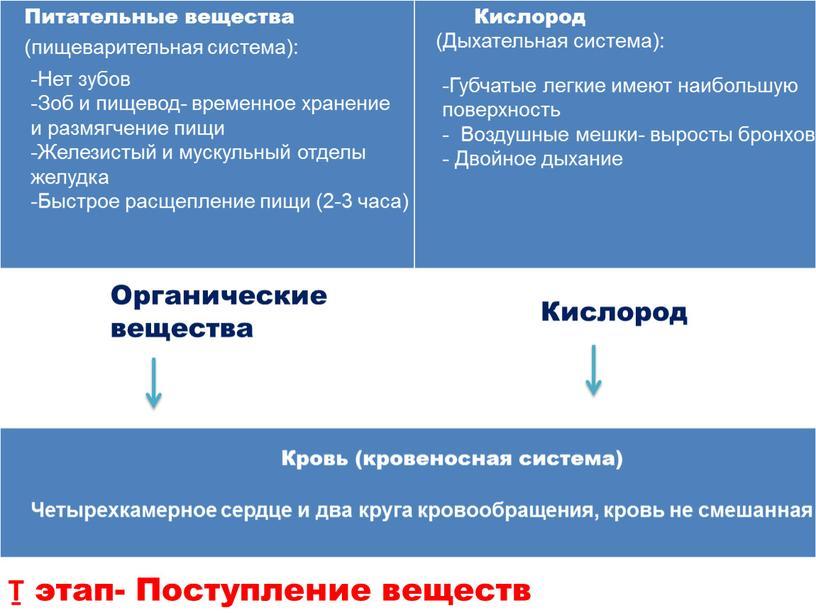 Органические вещества Кислород Ṯ этап-