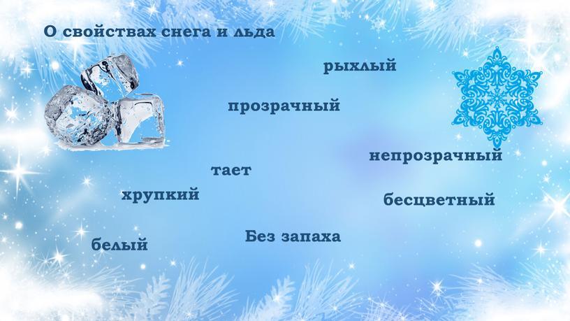 О свойствах снега и льда хрупкий прозрачный тает
