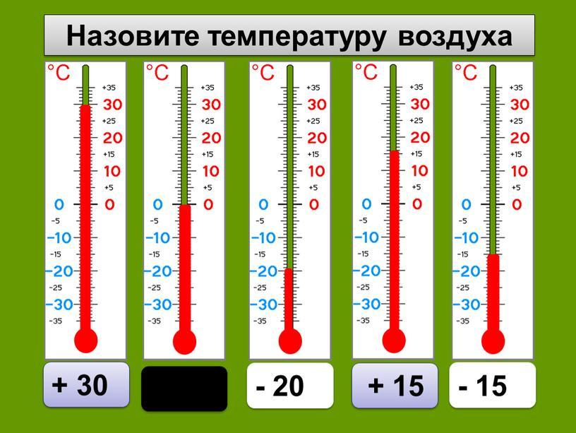 Назовите температуру воздуха 0 + 30 - 20 + 15 - 15