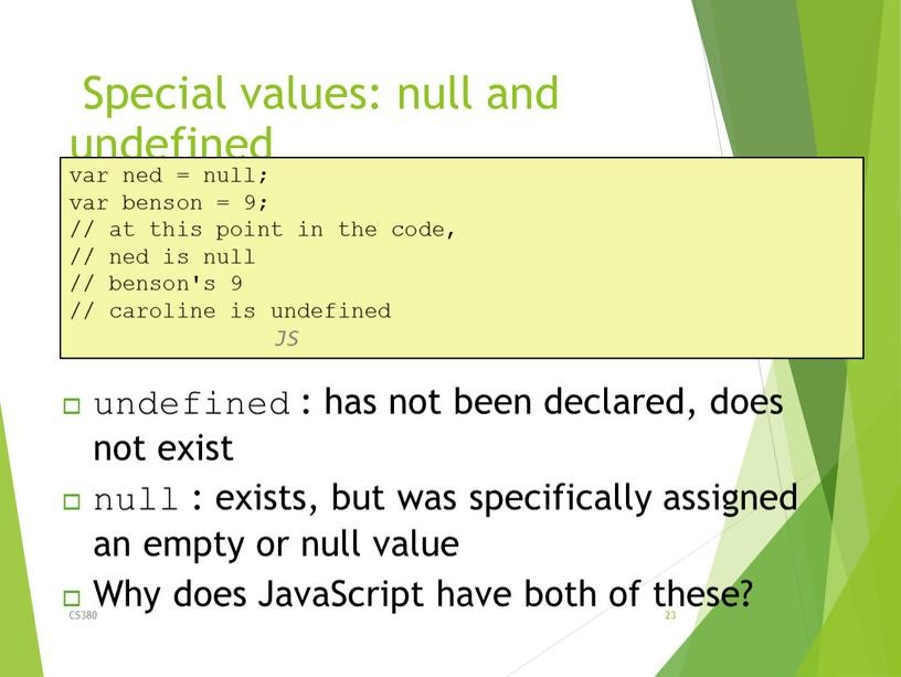 Special values: null and undefined
