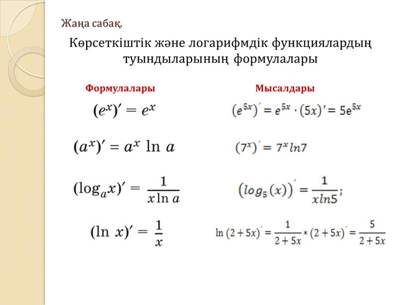 Жаңа сабақ. Көрсеткіштік және логарифмдік функциялардың туындыларының формулалары